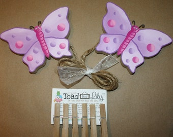 Lilac Butterfly Girls Wooden Wall Art DISPLAY CLIPS for Kids Bedroom Baby Nursery Playroom AC0021