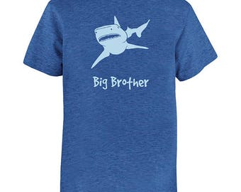 Big Brother Shirt Shark Shirt - Shark Big Brother Tee - Shark T Shirt - Multiple Colors - Gift Friendly - PolyCotton Fun Shark Big Bro Tee