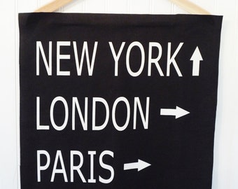fabric panel destination pillow fabric linen black white typography london paris new york 18 x 18 home decor