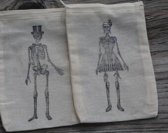 Set of 10 Hand stamped Skeleton Bride & Groom Muslin Party Favor Bags 100% organic made in america