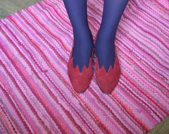 SUPER SALE - Cranberry Suede Shoes, wine red cutout purple red leather pumps size 37,5-38 european, british size 5 1/2