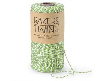 Apple Green & White Twine , 4-ply 100% Cotton Baker's Twine