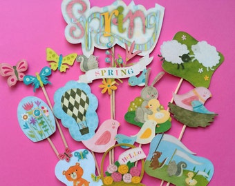 Easter cupcake toppers, Easter toppers, spring cupcake toppers, Easter party toppers, rabbit toppers, egg toppers, Easter and spring cupcake