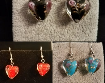 Lampwork Glass Heart Earrings