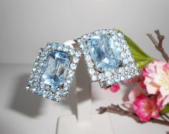 Blue Earrings, Blue Rhinestone Earrings, Vintage Earrings, Statement Earrings, Clip Earrings. Wedding Bridal, Sparkly Jewelry
