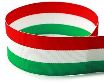 "1.5"" Red, White, Green Grosgrain Ribbon (Italian Pride)"