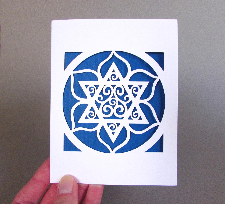 Jewish Holiday Passover Card Hanukkah Star Of David Blue