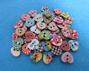 Wooden Heart Shaped Patterned Buttons