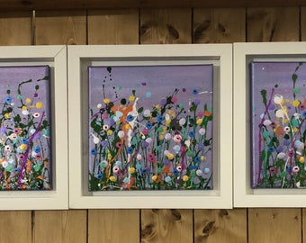 Floral wall art, floral painting, splatter art, flower art, colouful, bright, Meadow flowers, lilac dream
