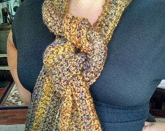 Handmade, Crocheted Scarf, Rich Autumn Colors with Fringe Ends