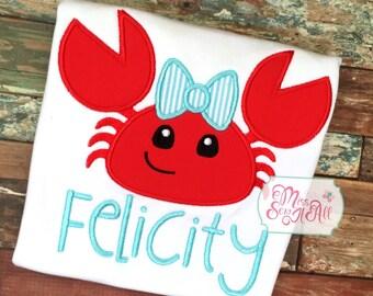Girls Summer Crab Shirt, Custom Crab Shirt, Girls Crab Shirt, Summer Crab Shirt