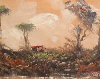 Oil painting impressionist landscape signed