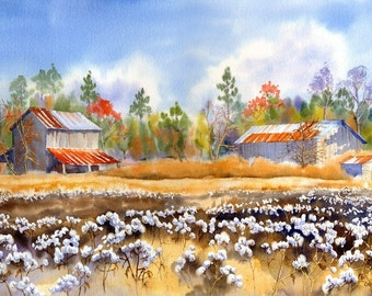Barns Back Home giclee of tobacco barn near a cotton field