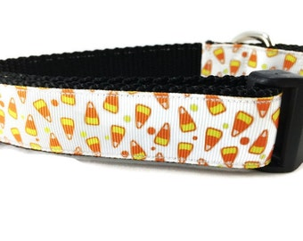 Halloween Dog Collar, Candy Corn, 1 inch wide, adjustable, small, 11-14 inches
