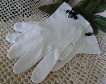 Antique White Cotton Gloves - 1950's Dress Gloves