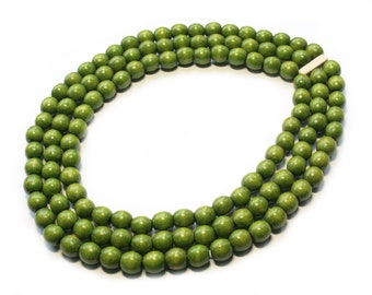 Green multistrand necklace beaded handmade boho wooden necklace green jewelry gift idea for wife green chunky large necklace gifts under 10