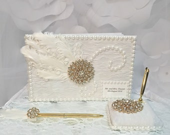Wedding Guestbook, Guest book, ivory and gold wedding, guest book set, feather guest book,  Gatsby wedding, personalized book