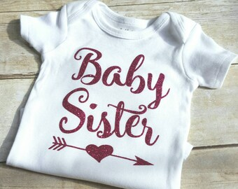 Baby sister shirt, baby girl bodysuit, sibling shirt, Baby Announcement Shirt, Newborn outfit