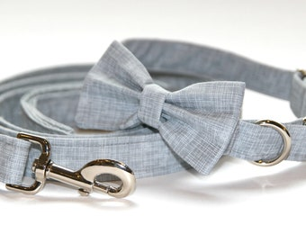 Steel Grey Silver Chrome Dog Collar XS Small Medium Large with Optional Bow Tie Accessory and Matching Leash