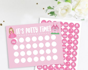 Princess Potty Training Chart With Stickers, Potty Chart, Potty Sticker Chart, Princess Potty Chart, Potty Time Chart
