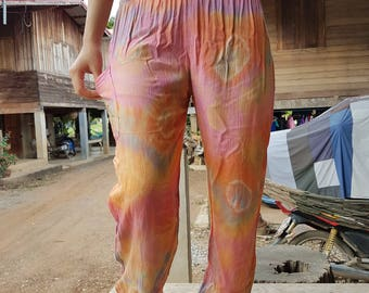 Orange clothes Hippie pants Boho pants Gypsy pants Colorful pants Rainbow pants  Yoga pants Tie dye pants Festival pants