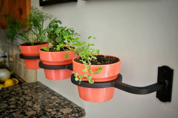 Great Indoor/Outdoor Herb Garden, Flower Pot Holder, Planter, Handmade, Welded,  Wrought Iron, Fixer Upper Decor Made In The USA