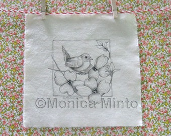 Pen & Ink on Fabric Original Drawing Quilt Square by Monica Minto Wren in Dogwood
