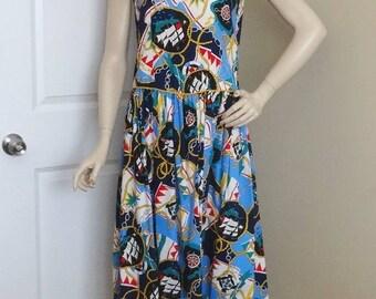 1980s CGJ Sailor Dress, Size 9, Rope Trim, Nautical Theme, Drop Waist, Wide White Collar, All Cotton, Vintage Clothing, Fashion, Resort Wear