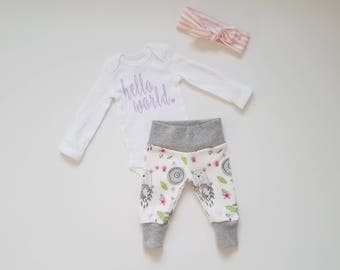 Personalized Baby Girl Coming Home Outfit. Personalized Newborn Girl Coming Home Outfit. Preemie Girl Coming Home Outfit. Woodland Bear.
