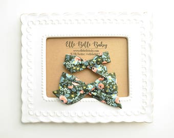 Rosa in Hunter Schoolgirl Hair Bow - Rifle Paper Co Hand-tied hairbow-Evy bow -Cotton Baby Headband - Newborn Hairbow - Toddler Hair Clip