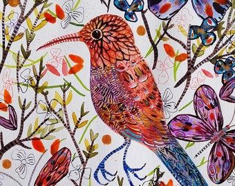 Bird Watercolor Bird Art Bird Painting Bird Fine Art - Bird Flowers - Home Decor Bird Wall Art - Céline Marcoz Art - Animal Watercolor - Art