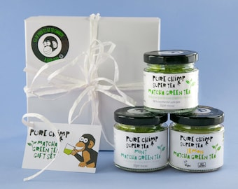 Matcha Green Tea Gift Set/Box By PureChimp - Lemon/Mint/Regular Flavoured Super Tea - 3 x 50g (1.76oz) Jars