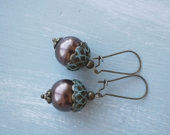 Earrings, vintage style brass and pearl turquoise and brown acorn earrings.