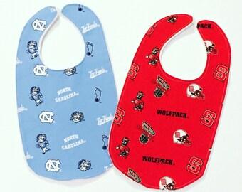 NC State/UNC/App State/ECU Handmade Baby Bibs-Monogrammed-College Football-North Carolina-Baby Bib