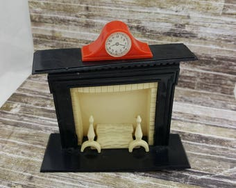 Renwal  Fireplace and Mantle clock Toy Furniture Doll House Black Cream
