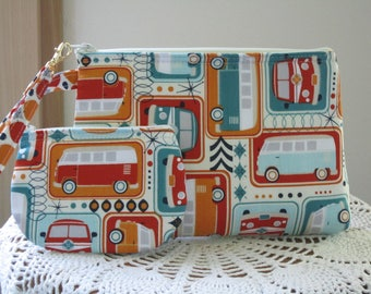 VW Retro Love Bus Purse, Smart phone Case, Gadget Pouch, Clutch Bag Wristlet  Made in USA Set
