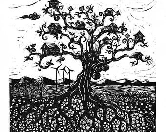 Tree houses Utopia commons linoleum print - linocut