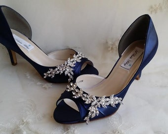 Wedding shoes navy blue bridal shoes navy blue wedding shoes blue wedding shoes blue bridal shoes with imported crystal design navy wedding shoes navy bridal shoes junglespirit Choice Image