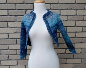 Hand Knit Blue Night Sky Shrug - One of a Kind Handspun Hand Knit Bolero Jacket with 3/4 Sleeves