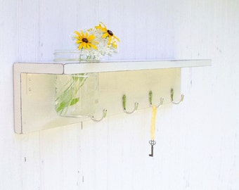"Country Farmhouse Wooden Shelf with Mason Jar - Entryway Shelf with Hooks -  26"" Wide - 4 Hooks"