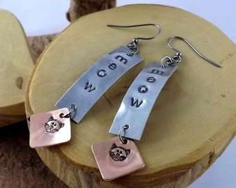 Meow bicolor copper and aluminum metal hand stamped cat lover french hook earrings
