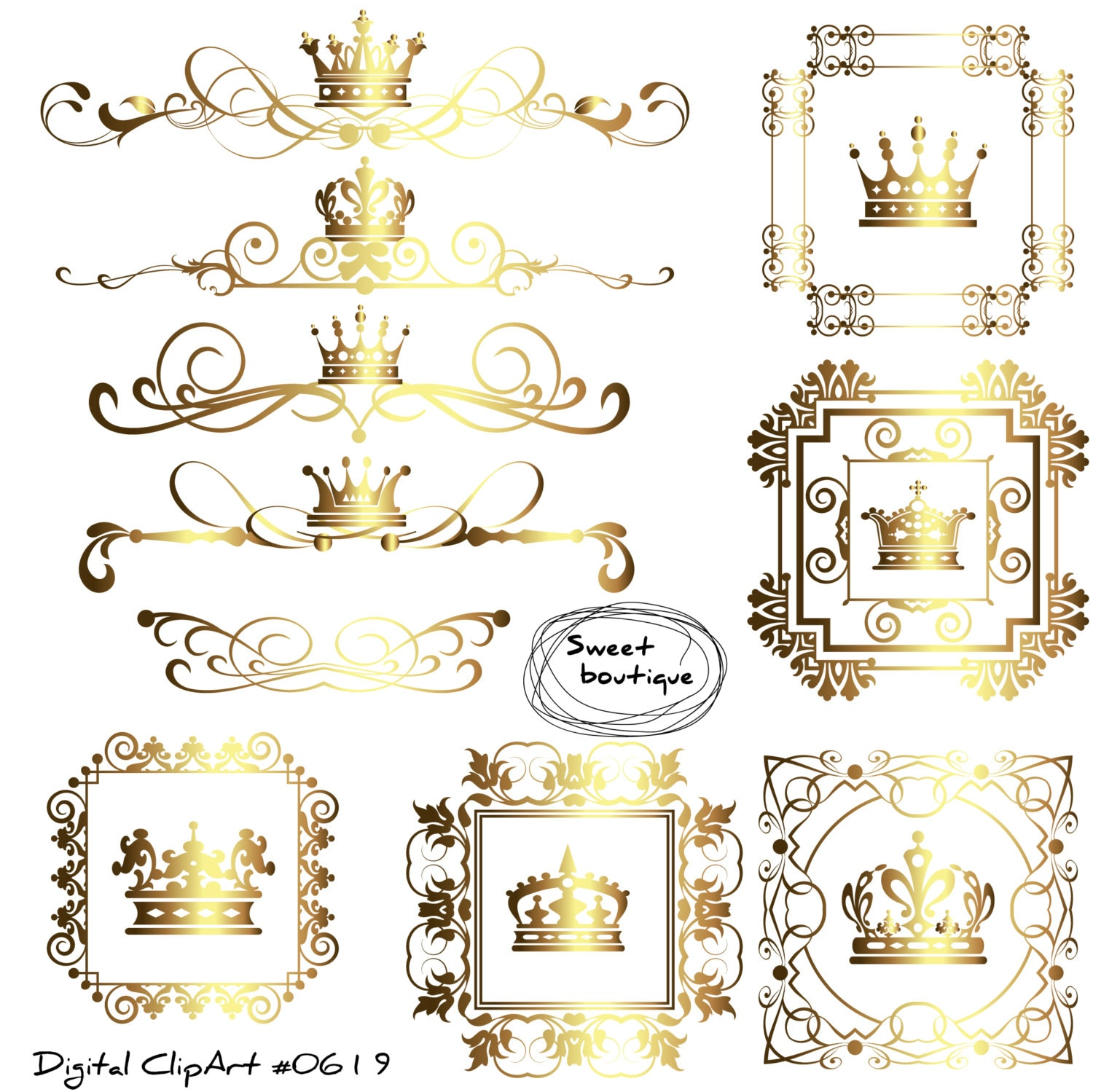 Crown border Digital Borders Frames clipart Crown frame