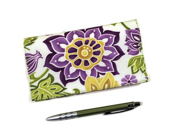 Checkbook Cover for Duplicate Checks with Pen Holder, Fuchsia Flowers, Green and White cotton Fabric