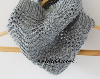 Circle scarf/handmade/hand knitted/gift for her/women scarf/scarf/cowl/knit cowl/circle cowl/oversize/gray/accessories/ideas for gifts