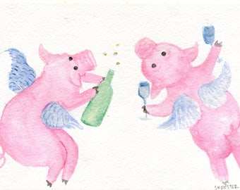 Flying Pigs drinking champagne watercolor painting original,  champagne swilling swine, humorous pig art