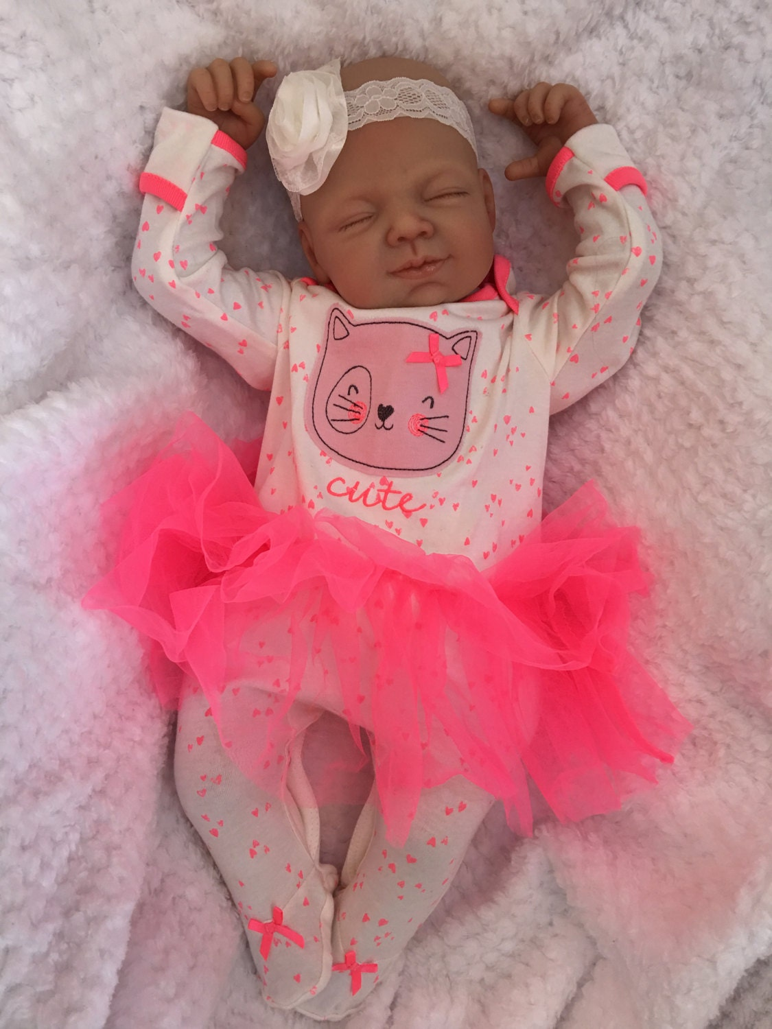Reborn Baby Doll Girl Amber Big Newborn 22 Size Rooted