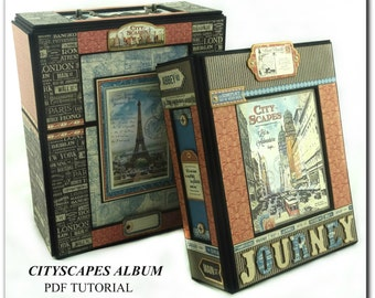 Cityscapes Mini Album PDF Tutorial, Scrapbook Tutorial, Scrapbook Album Tutorial, Travel Album Tutorial, Mini Album Tutorial