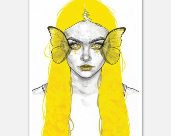 """A4 """"Yellow Butterfly"""" Open Edition Print"""