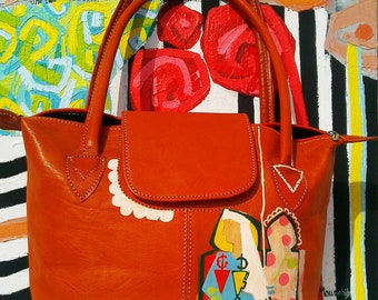 women leather handbag,new style, Fashion,Ladies  shoulder bag,orange color,trendy look,Moroccan crafts,hand-panted,gift for her unique piece