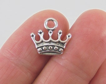 8 Crown charms, 14x13mm, antique silver finish
